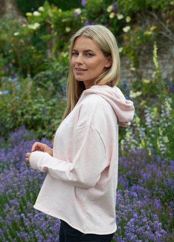 HEATHER PINK CROP HOODIE