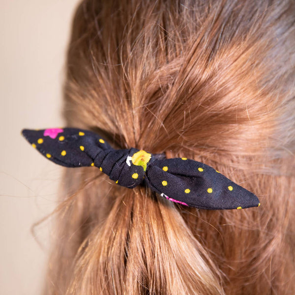 Black Floral Hair Bow with Yellow Polka Dots on Hair Elastic