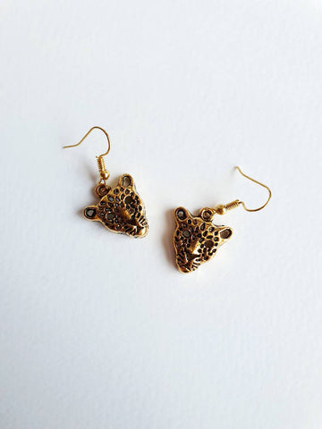 Yellow Leopard Drop Earrings