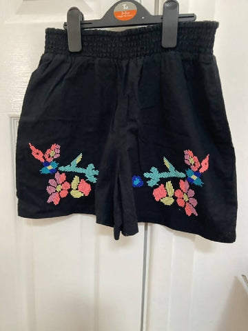 Marks & Spencer girl's black coord shorts and top, age 9-10