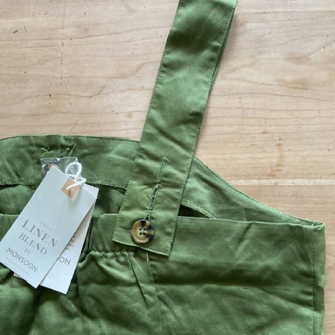 Monsoon BNWT green linen vest top, 14