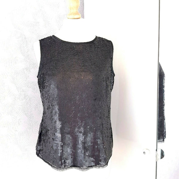 M&S Portfolio Sequin Black Vest Top 14