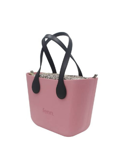 Dark Pink Fenn Petite bag with leopard print canvas inner and black handles