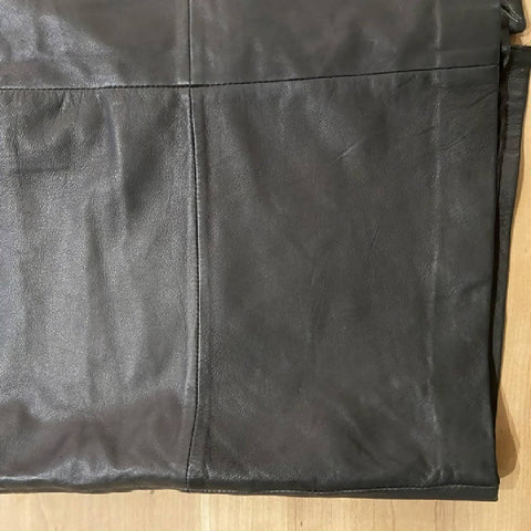 EDC black leather midi skirt, size 42