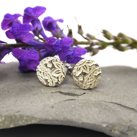 Silver Boho round stud earrings