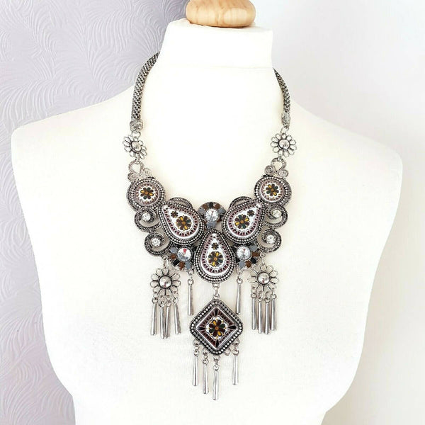 Statement Necklace Ceramic Silver Tone