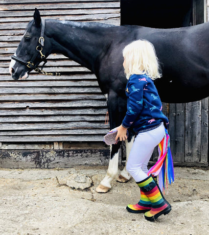 FLINGO UNICORN - White Pearlescent Leggings with Rainbow Tail