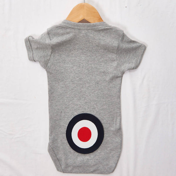 Navy Target on a Grey Baby grow, size 3-6 months
