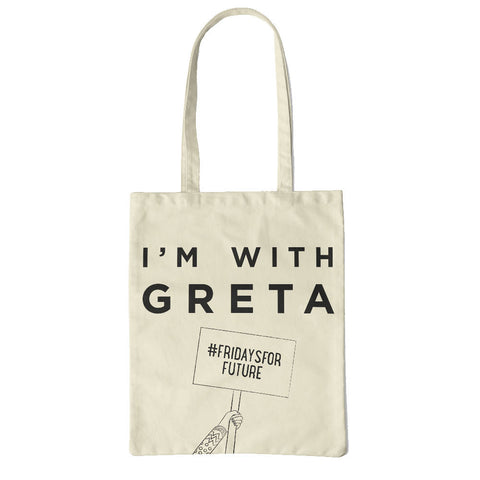 I'm with Greta tote made from recycled fabric: pink OR black design