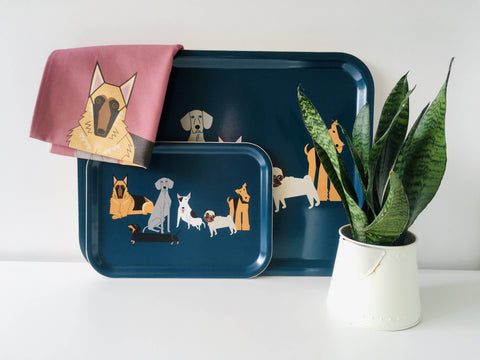 Large Dog characters eco wooden tray