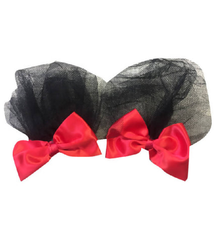 Handmade Red Hair Bow With Net Detail | PRETTY DISTURBIA