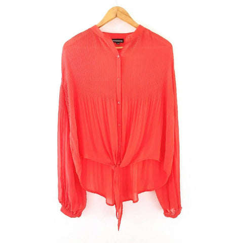 Warehouse Pleated Coral Knot Blouse 12