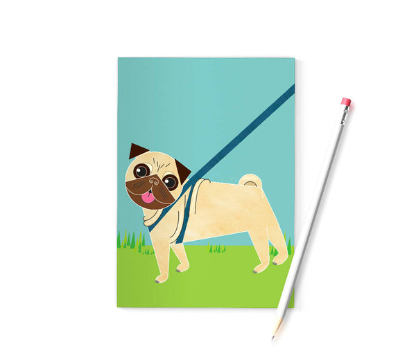 Pug dog A6 notebook printed on recycled paper