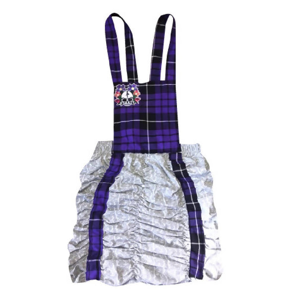 HANDMADE GREY LACE PURPLE TARTAN PINAFORE DRESS | PRETTY DISTURBIA