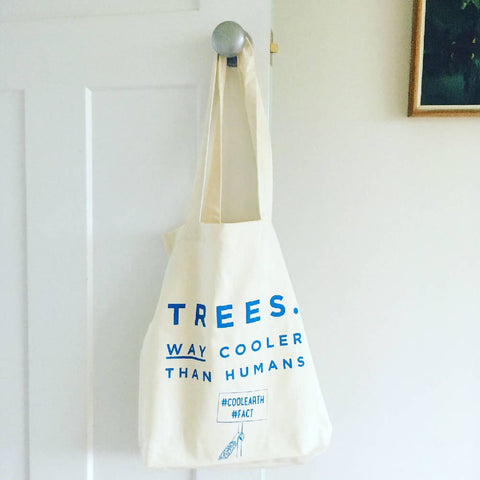 Trees are cool tote made from recycled fabric