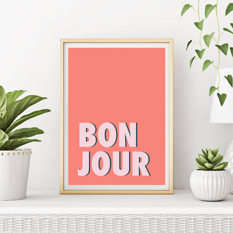 Bonjour (coral/pink) | Home Decor - Wall Art - Typography