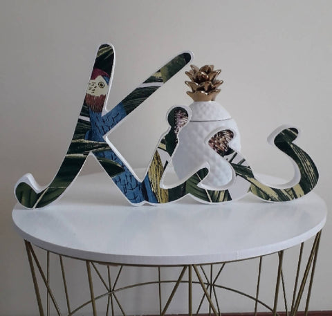 'kiss'.....wooden word with tropical print