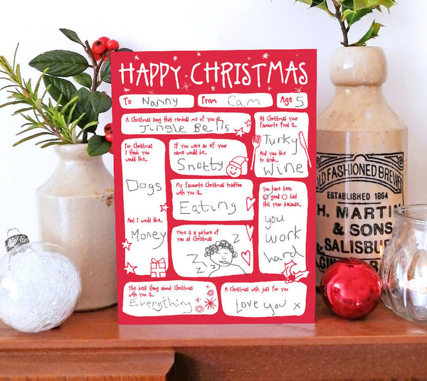 FIll In The Blanks Christmas Keepsake Card