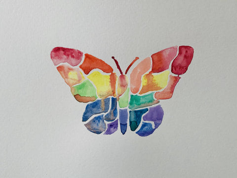 'Rainbow' Butterfily Watercolour Painting