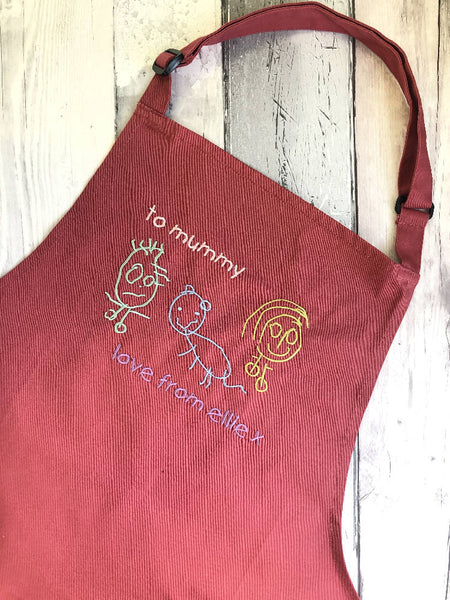 Child's Drawing Embroidered Apron