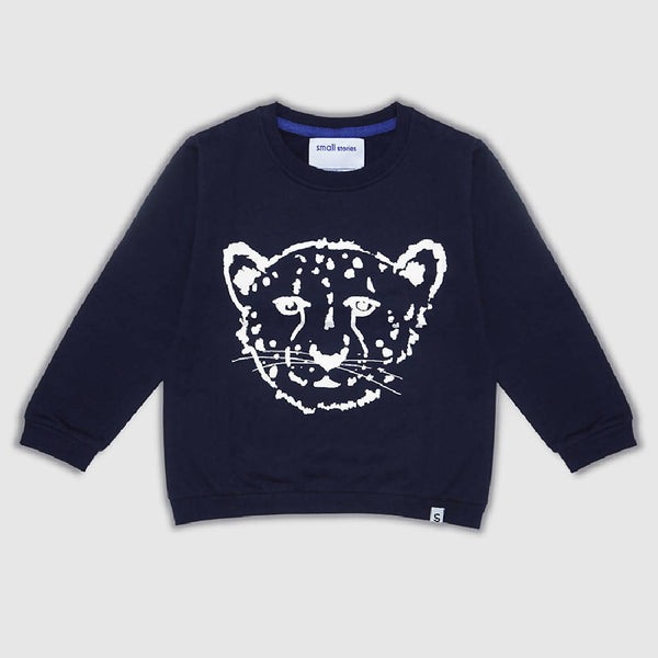 Cheetah navy sweater