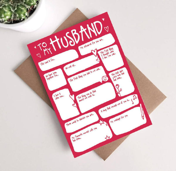Husband Valentines Card - Fill In The Blanks