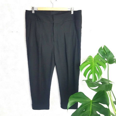 Helmut Lang Wool Black Cropped Trousers Medium