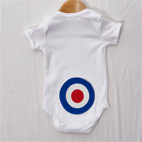Blue Target on White Baby grow, size 0-3 months
