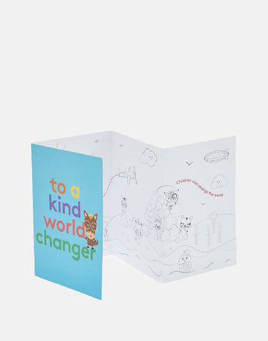 Stib 6 Pack of Varied 4 Page Colour-in Greeting Cards for Feel-Good, Inspirational Birthday, Thank you or Thinking-of-You Messages to Children