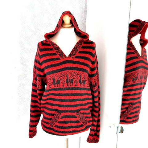 Knitted Hoodie Jumper Red Black Llamas 8 10 12