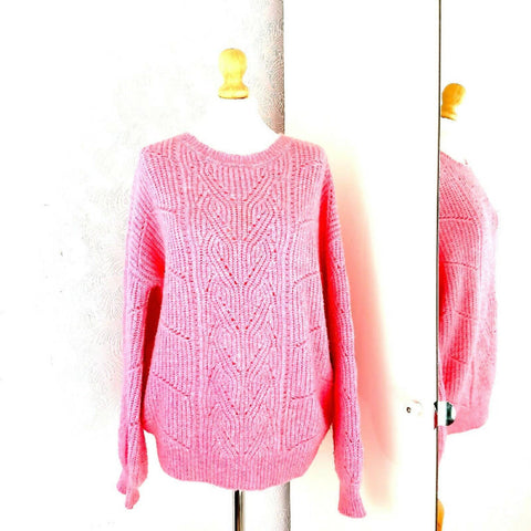 F&F Bubblegum Pink Chunky Cable Jumper 14