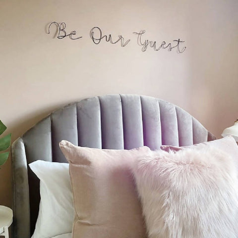 Be Our Guest, wall mounted wire words. Three dimensional typography.