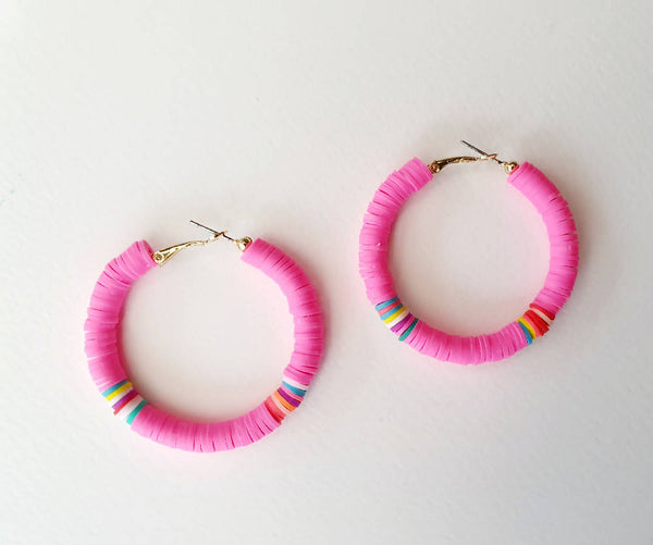 Pink Polymer Hoops