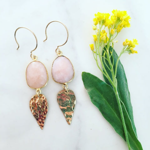 Pink Opal Dew Earrings