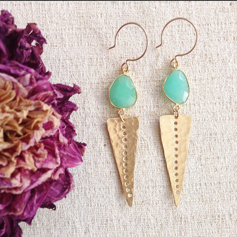Chrysoprase Spike Earrings