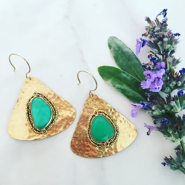 Chrysoprase Fan Earrings