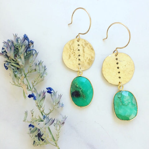 Chrysoprase Coin Earrings