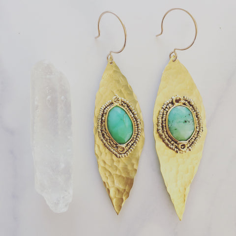Chrysoprase Leaf Earrings