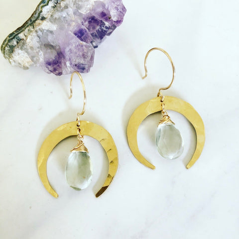 Green Amethyst Crescent Earrings