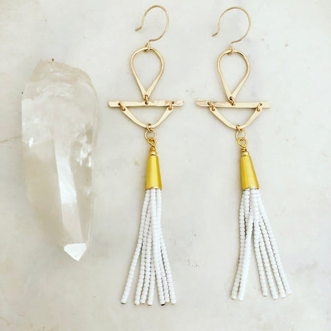 White Tassel Earrings