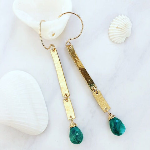 Chrysocolla Broken Bar Earrings
