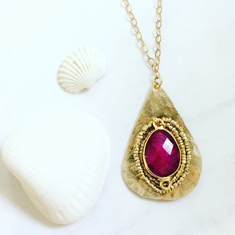 Ruby Teardrop Necklace