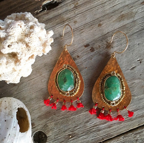 Chrysoprase Fringe Earrings