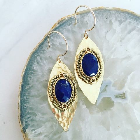 Lapis Leaf Earrings