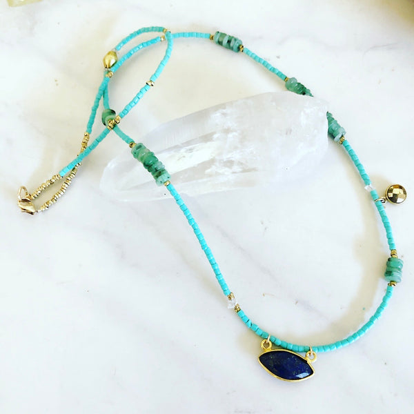 Lapis Charm Necklace