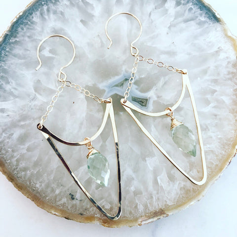 Green Amethyst Arrow Earrings