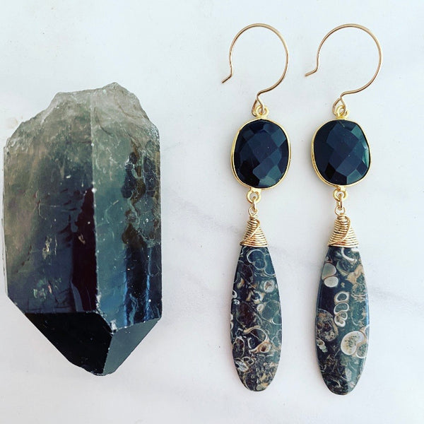 Black Fossil Earrings