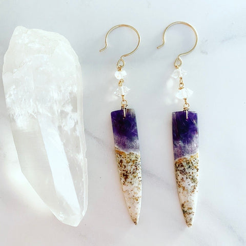 Amethyst Dagger Earrings