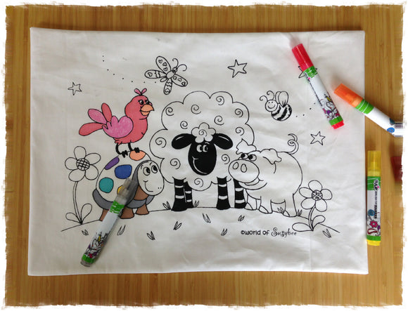 Coloring on a 100% organic cotton toddler pillowcase by A Little Pillow Company. Design by The World of SusyBee