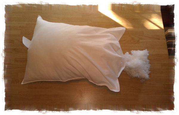 Adjustable Loft Pillows with Flex-Fill from A Little Pillow Company. Hypoallergenic. Machine Washable. Made in the USA. 100% Recycled plastic bottle fill.